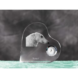 Crystal heart clock in the likeness of the dog
