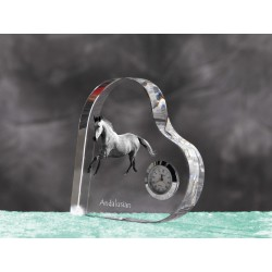 Crystal heart clock in the likeness of the horse