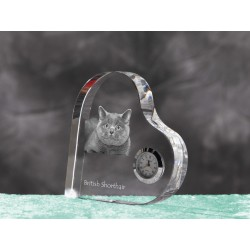 Persian Cat - crystal clock in the shape of a heart with the image of a purebred cat.