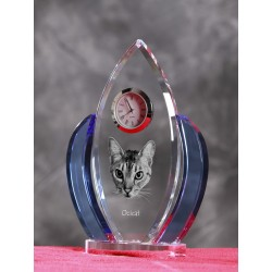 Crystal clock wings with cat, souvenir, decoration, limited edition, Collection