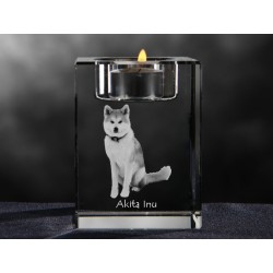 Akita Inu, crystal candlestick with dog, souvenir, decoration, limited edition, Collection