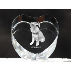 Schnauzer uncropped, crystal heart with dog, souvenir, decoration, limited edition, Collection