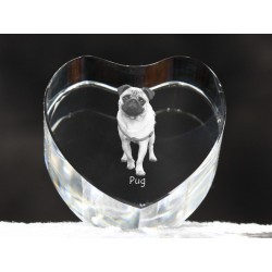 Pug, crystal heart with dog, souvenir, decoration, limited edition, Collection