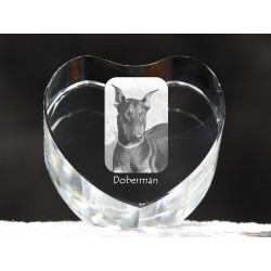 Dobermann cropped, crystal heart with dog, souvenir, decoration, limited edition, Collection