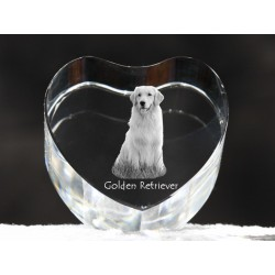 Golden Retriever, crystal heart with dog, souvenir, decoration, limited edition, Collection