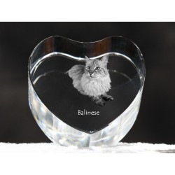 Balinese cat, crystal heart with cat, souvenir, decoration, limited edition, Collection