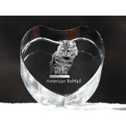 American Bobtail, crystal heart with cat, souvenir, decoration, limited edition, Collection