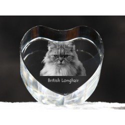 British longhair, crystal heart with cat, souvenir, decoration, limited edition, Collection