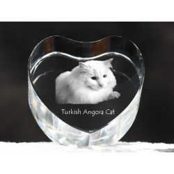 Turkish Angora, crystal heart with cat, souvenir, decoration, limited edition, Collection