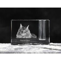 Maine Coon, crystal pen holder with cat, souvenir, decoration, limited edition, Collection