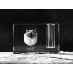 Ragdoll, crystal pen holder with cat, souvenir, decoration, limited edition, Collection