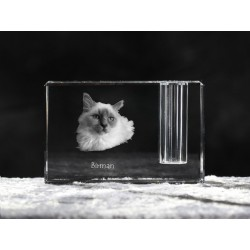 Birman, crystal pen holder with cat, souvenir, decoration, limited edition, Collection