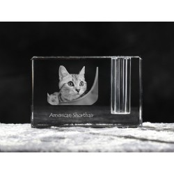 American shorthair, crystal pen holder with cat, souvenir, decoration, limited edition, Collection