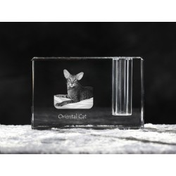 Oriental cat, crystal pen holder with cat, souvenir, decoration, limited edition, Collection