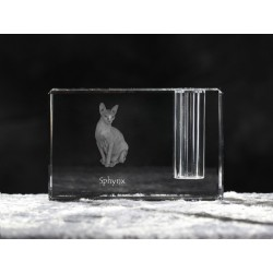 Sphynx cat, crystal pen holder with cat, souvenir, decoration, limited edition, Collection