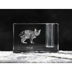 Bengal cat, crystal pen holder with cat, souvenir, decoration, limited edition, Collection