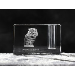American Bobtail, crystal pen holder with cat, souvenir, decoration, limited edition, Collection