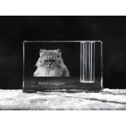 British longhair, crystal pen holder with cat, souvenir, decoration, limited edition, Collection