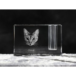 Ocicat, crystal pen holder with cat, souvenir, decoration, limited edition, Collection