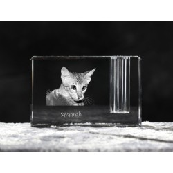 Savannah cat, crystal pen holder with cat, souvenir, decoration, limited edition, Collection
