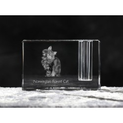Norwegian Forest cat, crystal pen holder with cat, souvenir, decoration, limited edition, Collection