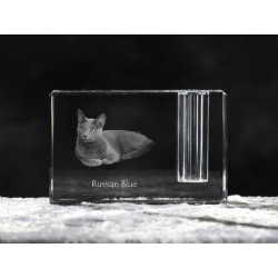 Russian Blue, crystal pen holder with cat, souvenir, decoration, limited edition, Collection