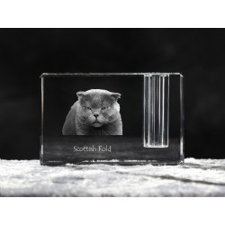 Scottish Fold, crystal pen holder with cat, souvenir, decoration, limited edition, Collection