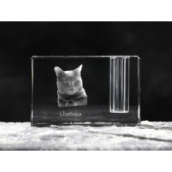 Chartreux, crystal pen holder with cat, souvenir, decoration, limited edition, Collection